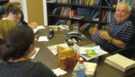 Click photo to download. Caption: Rabbi David Hartman, known for his inclusive approach, studies with Jewish women. Credit: Shalom Hartman Institute.
