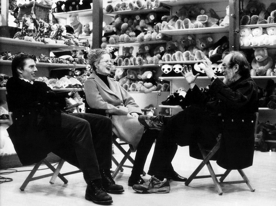 """Click photo to download. Caption: Left to right, Tom Cruise, Nicole Kidman and Stanley Kubrick during a break on the set of Kubrick's """"Eyes Wide Shut."""" Credit: Manuel Harlan/Warner Bros. Entertainment Inc."""