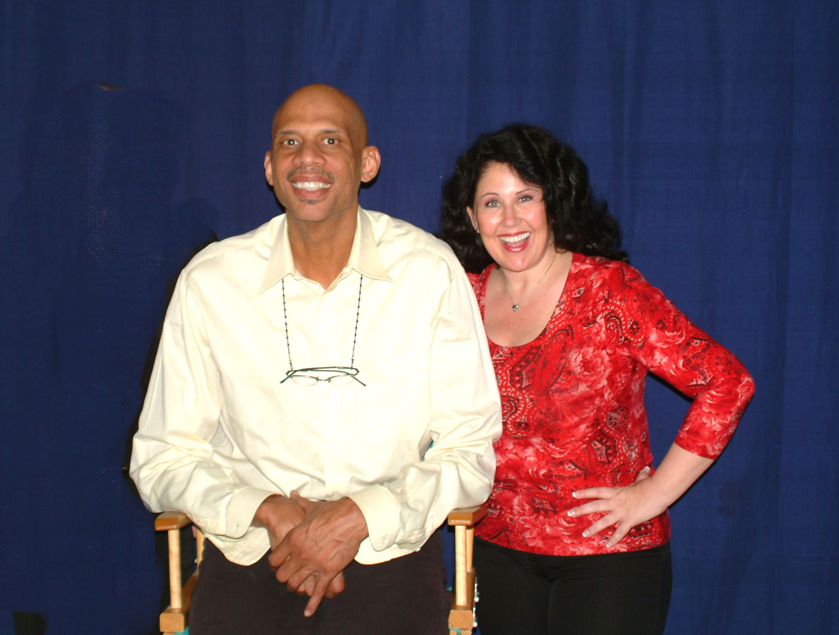 Click photo to download. Caption: Kareem Abdul-Jabbar and his Jewish manager, Deborah Morales. Credit: Raymond Obstfeld.