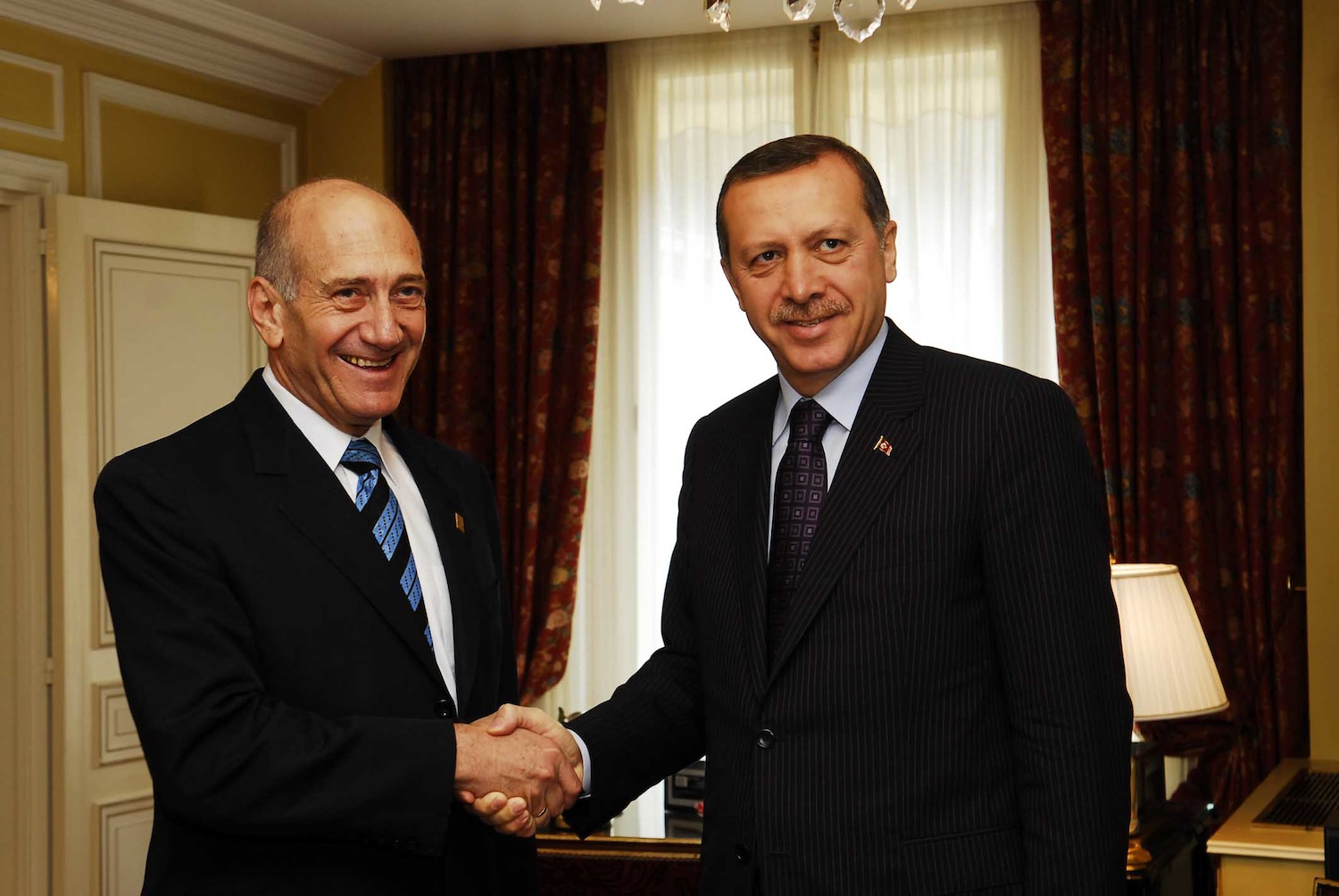 Click photo to download. Caption:Israeli Prime Minister Ehud Olmert meets with Turkish Prime Minister Recep Tayyip Erdogan at the Elysee Palace in Paris during a summit aimed at breathing new life into the existing Euro-Mediterranean region on July 13, 2008. Turkey-Israel relations have been strained since the 2010 Gaza flotilla incident, for which Israeli Prime Minister Benjamin Netanyahu apologized to Erdogan in a telephone call last Friday. Credit: Avi Ohayon/GPO/Flash90.