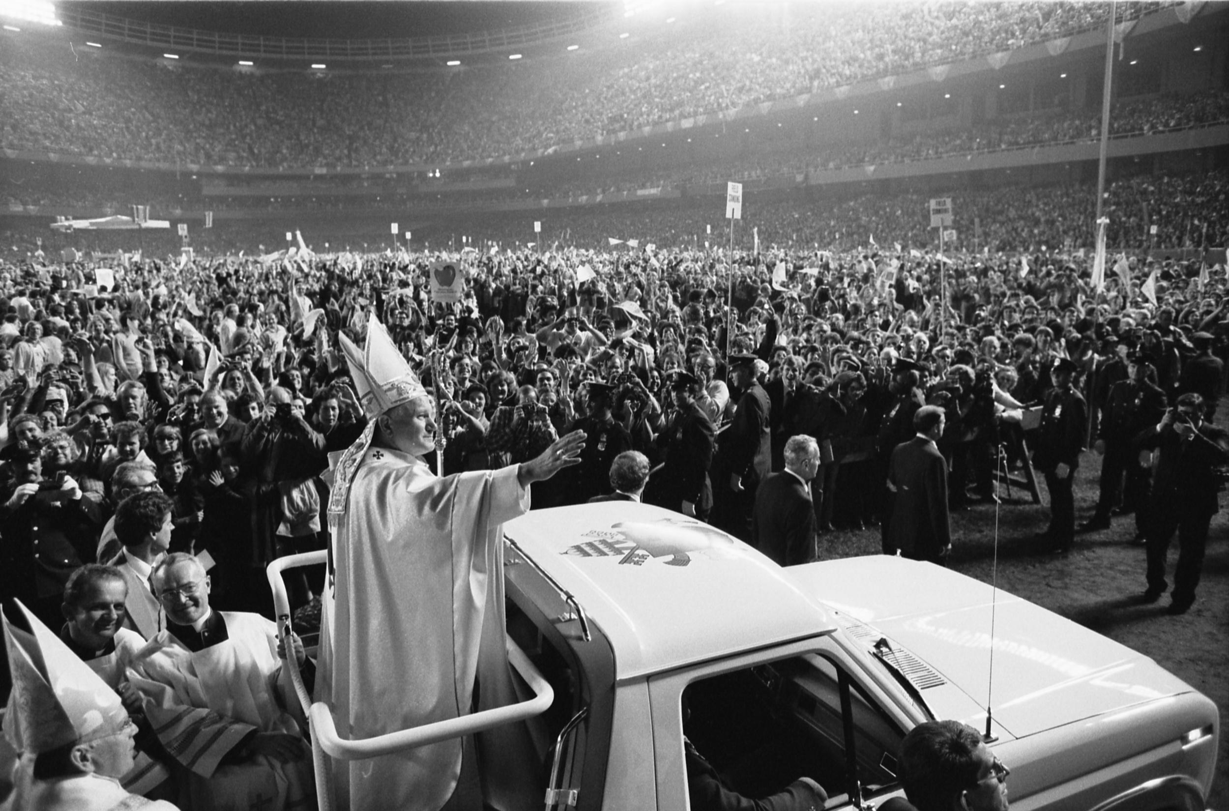 Click photo to download. Caption:Pope John Paul II at the old Yankee Stadium, New York City, in October 1979. Credit:Thomas J. O'Halloran.