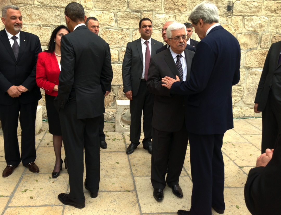 Click photo to download. Caption: U.S. President Obama and U.S. Secretary of State John Kerry are greeted by Bethlehem Mayor Vera Baboun, left, and Palestinian Authority President Mahmoud Abbas, right, upon arrival at the Church of the Nativity in Bethlehem on March 22, 2013. Credit: U.S. State Department.