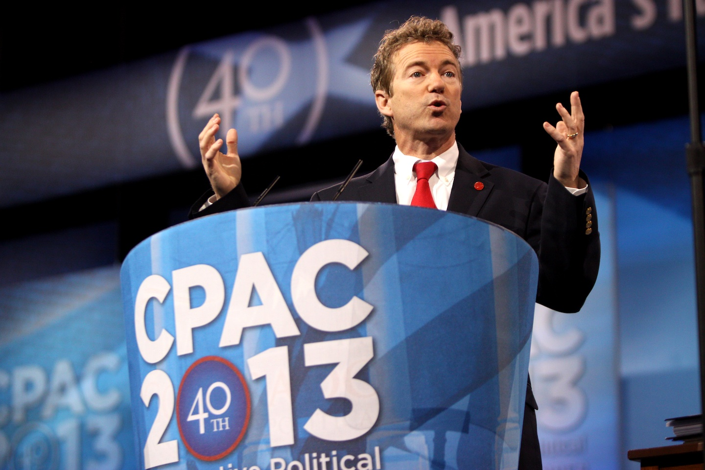 Click photo to download. Caption: U.S. Sen. Rand Rand Paul (R-KY) speaking at the 2013 Conservative Political Action Conference (CPAC) in Washington, DC on March 14, 2013. Credit: Gage Skidmore.