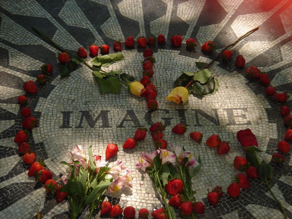 A mosaic for John Lennon in New York's Central Park.