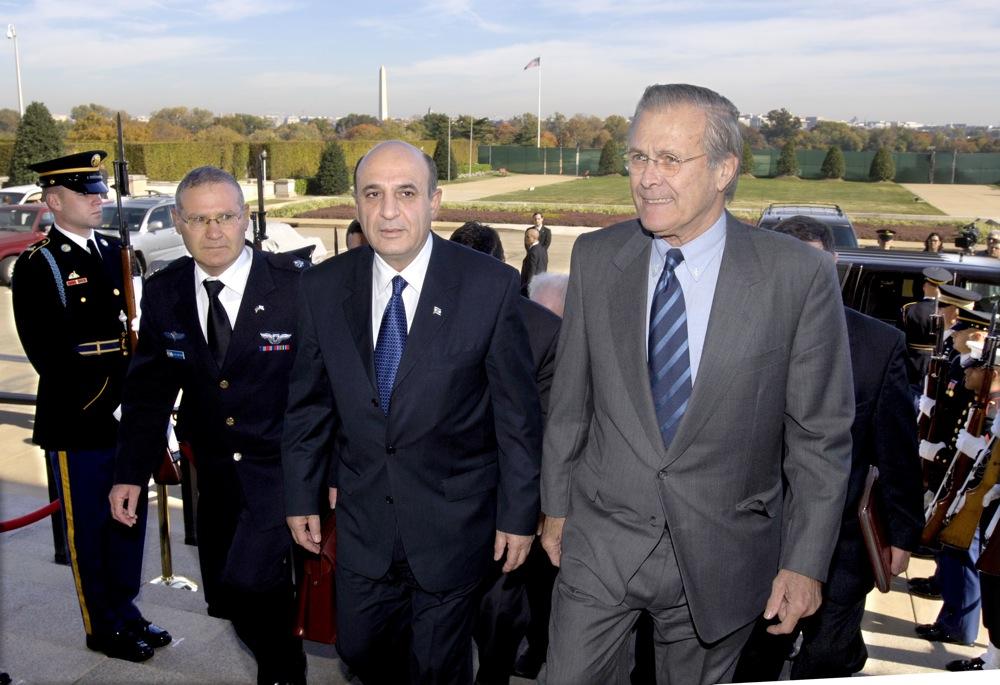 From left to right, in November 2005, Defense Attache at the Israeli Embassy Maj. Gen. Amos Yadlin, Israeli Minister of Defense Shaul Mofaz, and U.S. Secretary of Defense Donald Rumsfeld. Credit: Robert D. Ward.