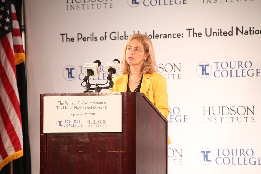 "Anne Bayefsky of the Hudson Institute speaks at ""The Perils of Global Intolerance"" conference Sept. 22, organized by Hudson and Touro College to counter Durban III. Credit: Enrique Cubillo/85 Photo Productions Inc."