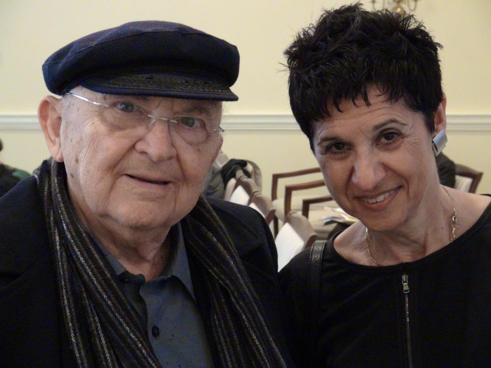 Israeli novelist Aharon Appelfeld with Nili Gold, Professor of Hebrew Literature, at the University of Pennsylvania. Credit: Kevin Walsh.
