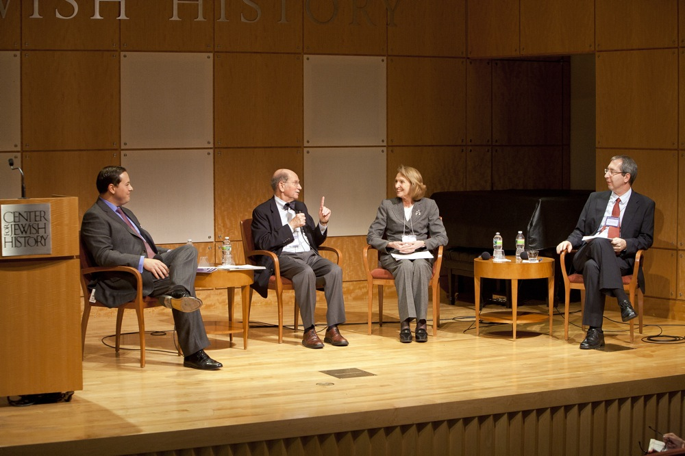 """Click photo to download. Caption: From left to right, Michael Glickman, Stanley N. Katz, Deanna Marcum, Oren Weinberg on a panel at """"From Access to Integration,"""" a two-day conference in New York City on the digitization of Jewish resources. Photo courtesy of John Halpern."""