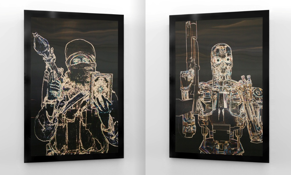 """Click photo to download. Caption: """"Terminator Terrorist/Terrorist Terminator"""" by American artist James Clar, displayed at Museum on the Seam in Jerusalem. Credit: Museum on the Seam."""