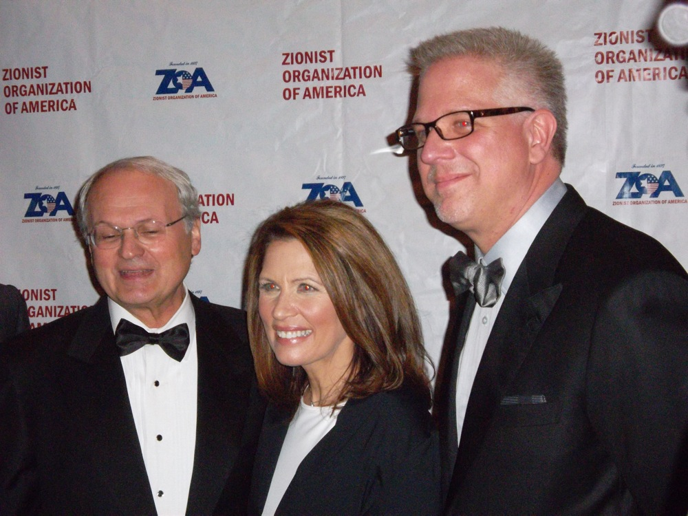 Click photo to download. Caption: From left to right, Zionist Organization of America President Mort Klein, Republican presidential candidate U.S. Rep. Michele Bachmann, and star broadcaster Glenn Beck at Sunday night's ZOA gala in New York City. Credit: Jacob Kamaras.
