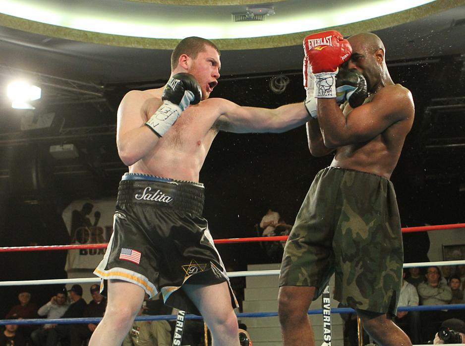 Click photo to download. Caption: Orthodox boxer Dmitriy Salita fights Ronnie Warrior, Jr. on April 14, 2011. Credit: Alex Gorokhov.
