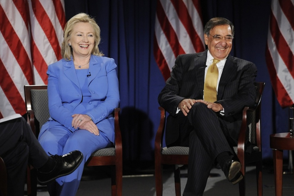 Click photo to download. Caption: US Secretary of State Hillary Clinton and US Secretary of Defense Leon Panetta participate in a discussion at the National Defense University in Washington DC, USA, August 16th, 2011. Credit: EPA/Michael Reynolds