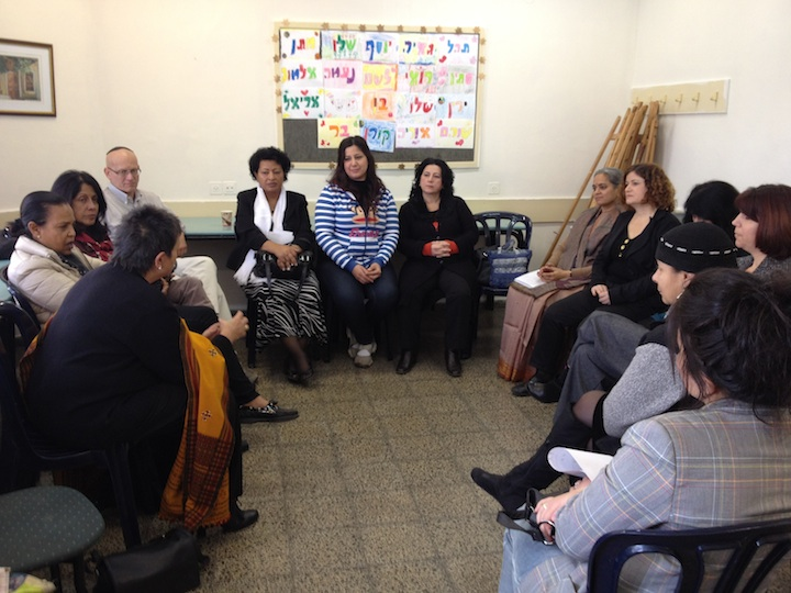 Click photo to download. Caption: A meeting in Akko with Kazkavi Women, who have entered the workplace due to the efforts of JDC Eshet Chayil program. Credit: Danielle Butin.