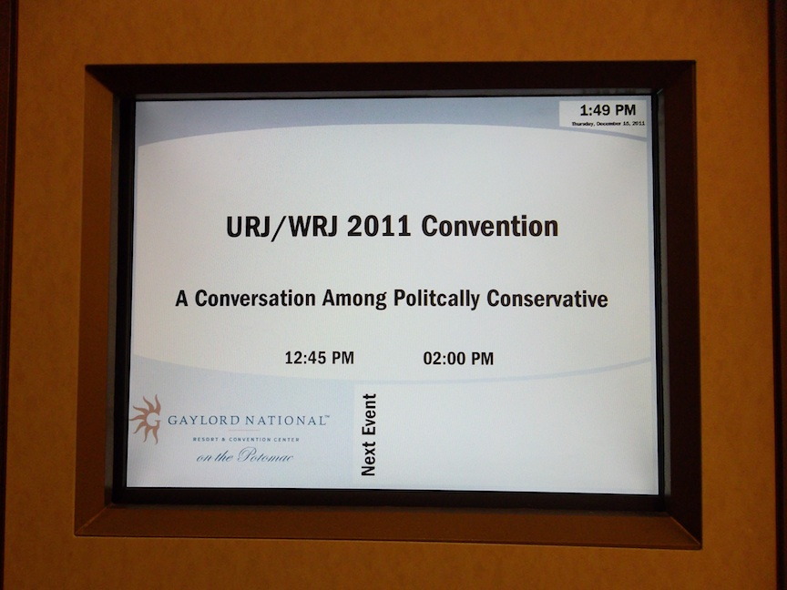 """Click photo to download. Caption: A session labeled """"A Conversation Among Politically Conservative"""" at the Union for Reform Judaism biennial. Credit: Jacob Kamaras."""