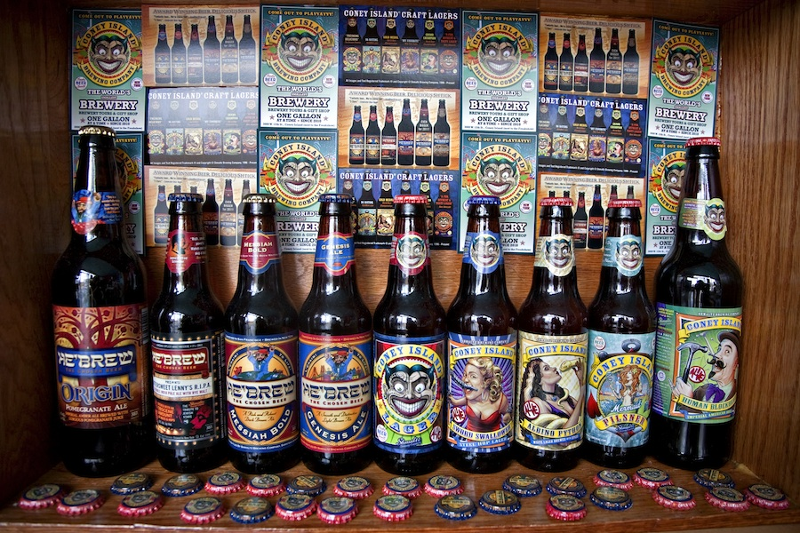 Click photo to download. Caption: A diorama of Shmaltz beers, including He'Brew and Coney Island Craft Lagers. Credit: Amuggle.