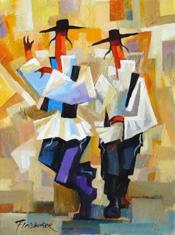 "Click photo to download. ""Chassidic Dancing"" by Fleisheker, a piece featured by the Safrai Fine Art Gallery. Credit:Safrai Fine Art Gallery."