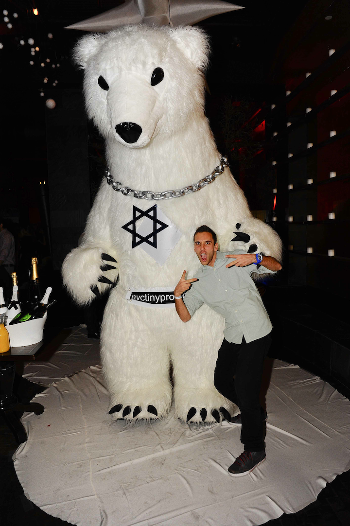 Click photo to download. Caption: A mascot at the Dec. 24 Jspace.com party in New York, where the site launched its dating section.