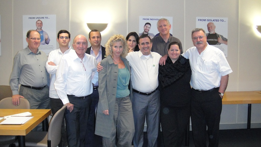 Click photo to download. Caption: Arik Rosenblum (front row, center) led a delegation from Takdim that visited San Francisco in November to learn more about how the Jewish Federation fundraising model works, and how Takdim can replicate that model in Israel. Credit: Courtesy Arik Rosenblum.