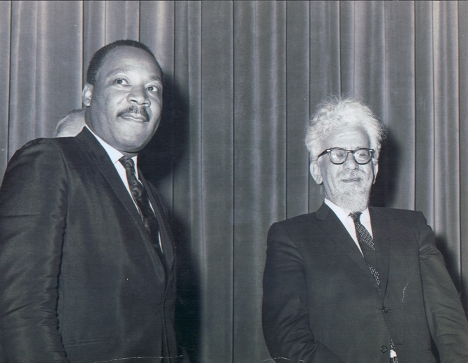 Click photo to download. Caption: Martin Luther King Jr. with Rabbi Abraham Joshua Heschel. Credit: Courtesy of Ethan Simon.
