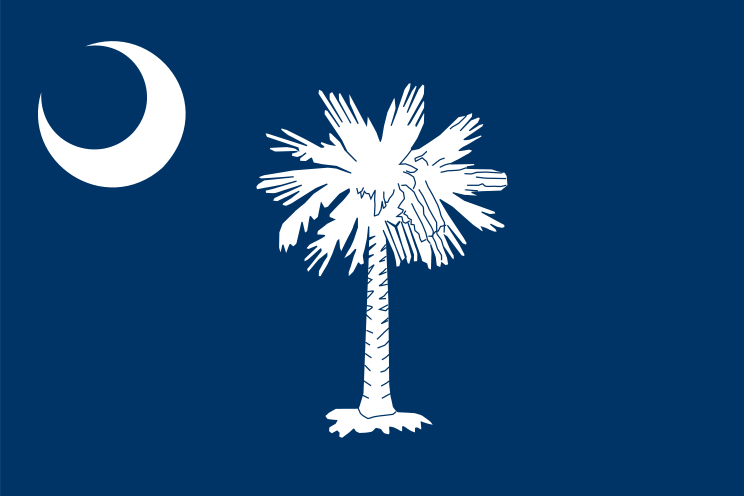 Click photo to download. Caption: The flag of South Carolina. Credit: PD.