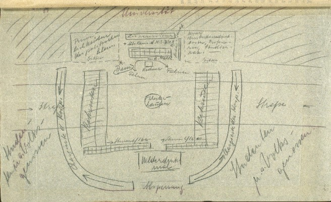 Click photo to download. Caption: The Nazi book burning ceremonies were planned with meticulous attention to detail. This sketch shows how student organizers at the University of Cologne planned such aspects as speakers' platforms and seating arrangements. However, rain forced the postponement of the event until May 17. Credit: United States Holocaust Memorial Museum.
