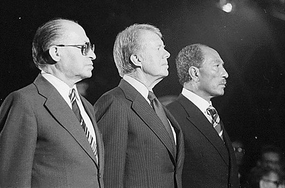 Click photo to download. Caption: Menachem Begin, Jimmy Carter and Anwar Sadat at Camp David in 1978. Credit: Jimmy Carter Library.