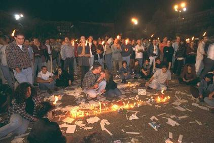 Click photo to download. Caption: Teenagers gather in Tel Aviv to light memorial candles after hearing of the assassination of Prime Minister Yitzhak Rabin in 1995. Credit: State of Israel National Photo Collection.