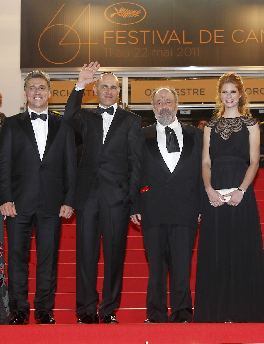 "Click photo to download. Caption: (L-R) Israeli actor Lior Ashkenazi, Israeli director Joseph Cedar, Israeli actor Micah Lewensohn and Israeli actress Yuval Scharf arrive for the screening of ""Footnote"" during the 64th Cannes Film Festival in Cannes, France, on May 14, 2011. Cedar's film is up for an Academy Award and debuts in the U.S. on March 9. Credit: EPA/GUILLAUME HORCAJUELO."