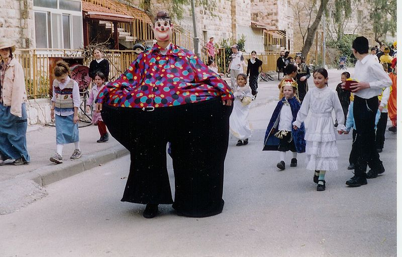 Click photo to download. Caption: Dressing in costumes is traditional for Purim.  If you want to confuse everyone, go as Santa.