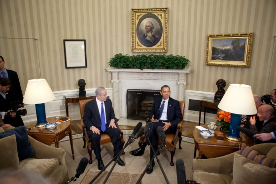 Click photo to download. Caption: President Barack Obama and Prime Minister Benjamin Netanyahu of Israel deliver statements to the press prior to their bilateral meeting in the Oval Office, March 5, 2012. Credit: Official White House Photo by Lawrence Jackson.