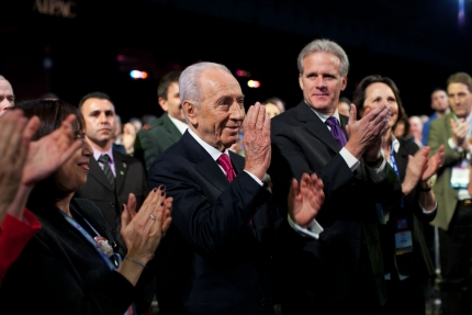 Click photo to download. Shimon Peres acknowledges President Obama's announcement on Sunday that he will receive the Medal of Freedom. Credit: White House.