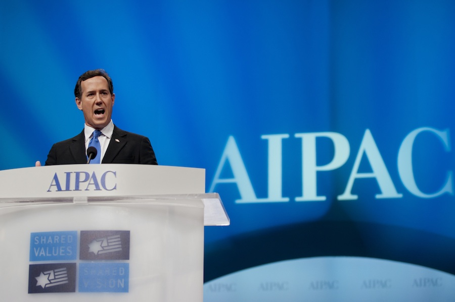 Click photo to download. Caption: Former U.S. Senator and Republican presidential candidate Rick Santorum speaks at the American Israel Public Affairs Committee (AIPAC) conference in Washington, DC, on March 6. While Santorum addressed the conference in person, fellow presidential candidates Mitt Romney and Newt Gingrich spoke via satellite. Credit: EPA/PETE MAROVICH.