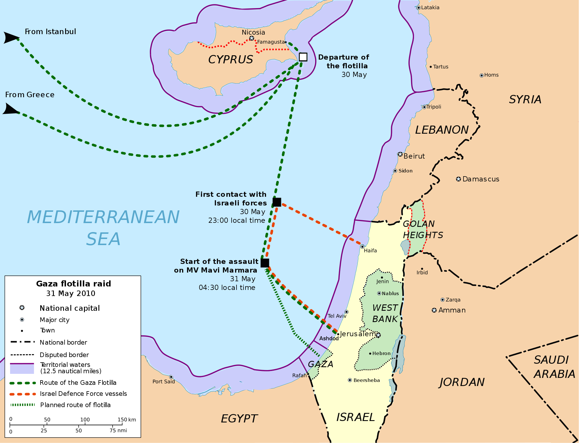 """Click photo to download. Caption: Mapping out the Gaza """"Freedom Flotilla"""" incident of Mat 31, 2010. Credit: PD."""