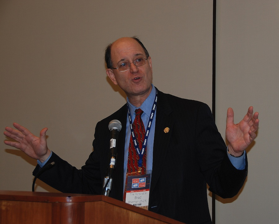 """Click photo to download. Caption: U.S. Rep. Brad Sherman (D-CA) speaks during a private meeting at the recent AIPAC conference. He warned that Iran could provoke a series of events """"even more dangerous"""" than the Cuban Missile Crisis. Credit: Maxine Dovere."""
