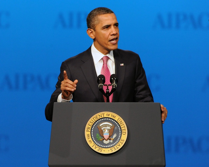 Click photo to download. Caption: President Obama speaks at the AIPAC conference March 4. Credit: AIPAC.
