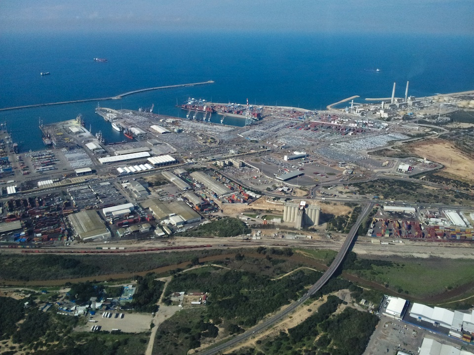 Click photo to download. Caption: A Grad's-eye view of the Port of Ashdod, one of the southern Israeli cities that is under the threat of rocket fire from Gaza. Credit: B. Davidson.