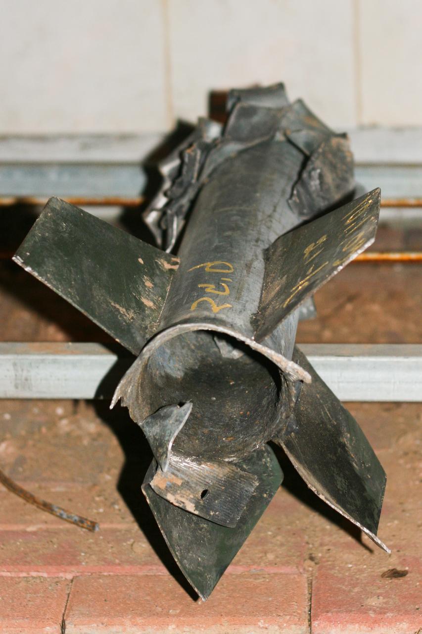 Click photo to download. Caption: A Qassam rocket in Sderot. Credit: PD.