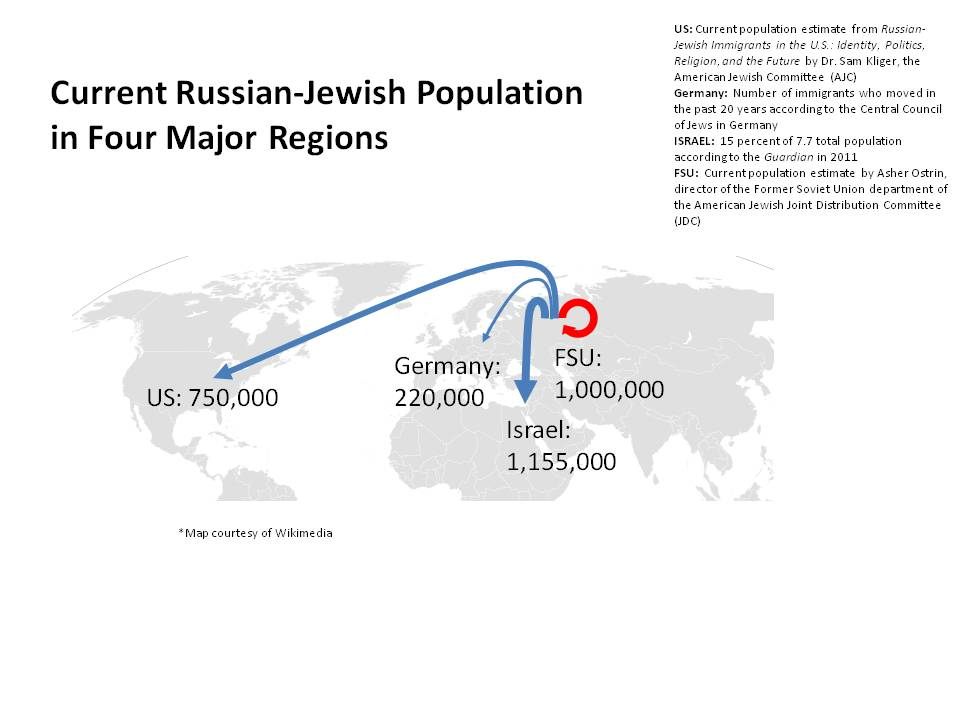 Click photo to download. Caption: A map of the current Russian-Jewish population in the U.S., Israel, Germany and the former Soviet Union (FSU). Credit: Text by JNS, map by Wikimedia Commons.