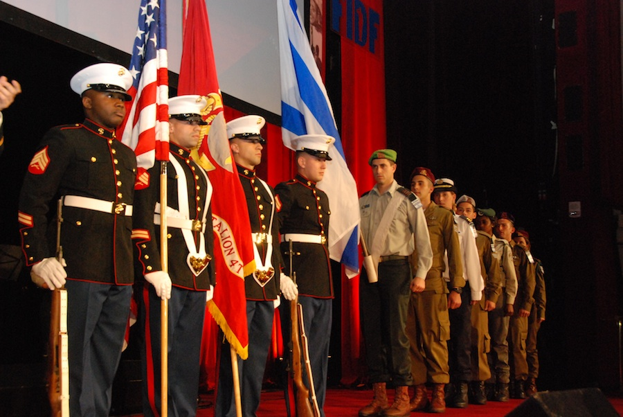 Click photo to download. Caption: The honor guards of the U.S. Marines and the Israel Defense Forces present colors at the Friends of the Israel Defense Forces 2012 Gala in New York City, March 12. Credit: Maxine Dovere.