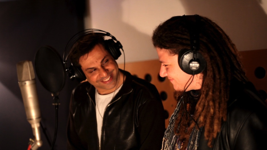 """Click photo to download. Caption: """"Hallelujah"""" winner Adam Kleinberg (right) in studio with Momi Levy. Credit: Tomer Levy."""