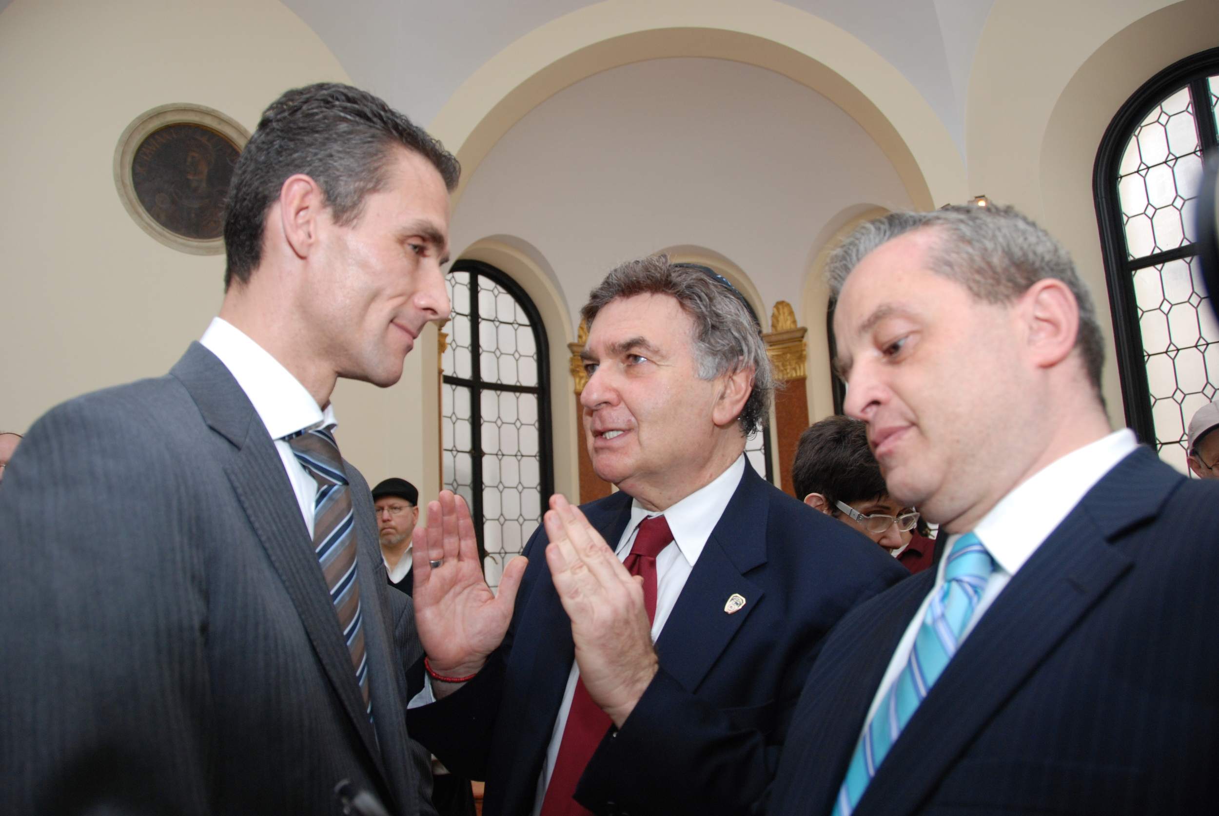 Click photo to download. Caption: From the right, H.E. Pierre Lalliot, Consul General of France in New York, Rabbi Joseph Potasnik, Vice President of the New York Board of Rabbis, Ibrahim Kurtulus, Advisor to the President of the Federation of Turkish American Associations. Credit: Maxine Dovere.