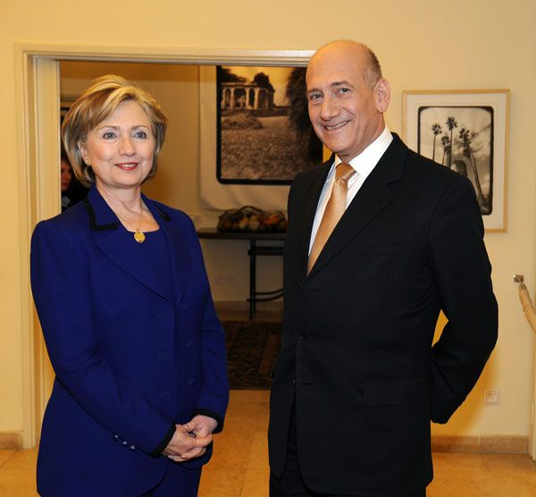 Click photo to download. Caption: Secretary of State Hillary Clinton with Ehud Olmert in 2009. Olmert is a special guest at J Street's upcoming conference. Credit: U.S. State Department.