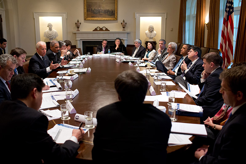 Click photo to download. Caption:United States President Barack Obama listens as Vice President Joe Biden presents proposals as part of the Obama Administration's response to the shootings in Newtown, Connecticut, during a policy meeting in the Cabinet Room of the White House on January 14, 2013. During the divisive national debate on gun control, some federal legislators are now arguing for laws to provide better mental illness treatment as a preventive measure for shootings, rather than stricter gun laws. Credit: Pete Souza/White House.
