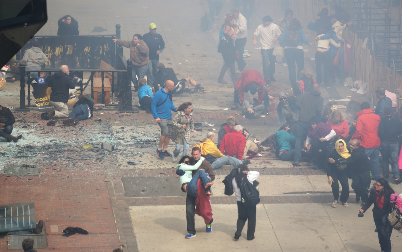 Click photo to download. Caption: The aftermath of the Boston Marathon explosions last week. Credit: Aaron Tang/Wikimedia Commons.