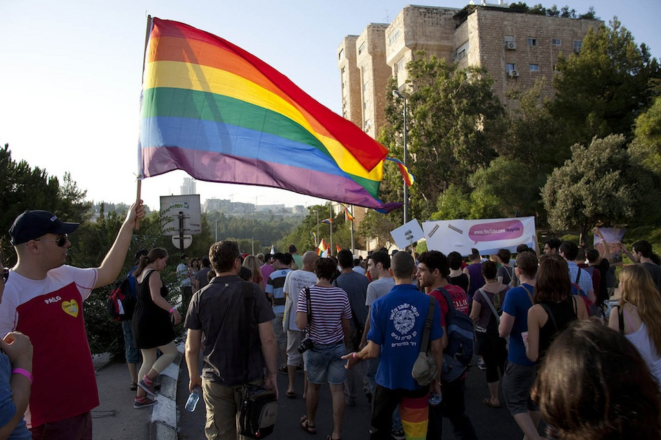 Click photo to download. Caption: The Jerusalem Gay Pride Parade of 2010. Israel is the only country in the Middle East where lesbians and gay men can safely engage with their sexuality. Credit: Guy Yitzhaki.