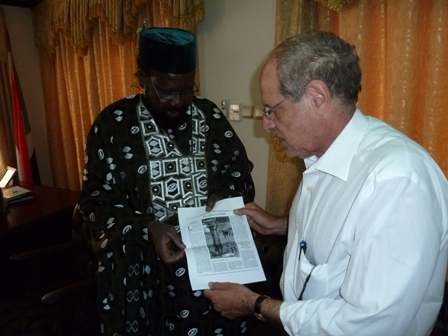 Click photo to download. Caption: Charles Jacobs with South Sudanese president Salva Kiir. Credit: Courtesy Charles Jacobs