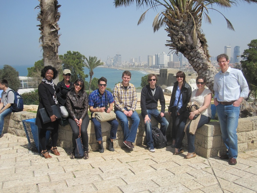 Click photo to download. Caption: Tel Aviv University and University of Chicago workshop participants at a Jaffa overlook. The Chicago students visited Israel to study social issues. Credit: Ronen Shnidman.