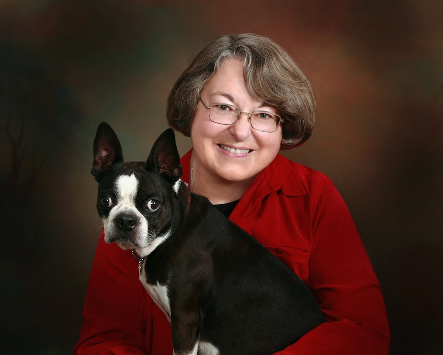Click photo to download. Caption: Rabbi Sally Priesand with her Boston Terrier, Shadow. Credit: Courtesy Joel Gerard.