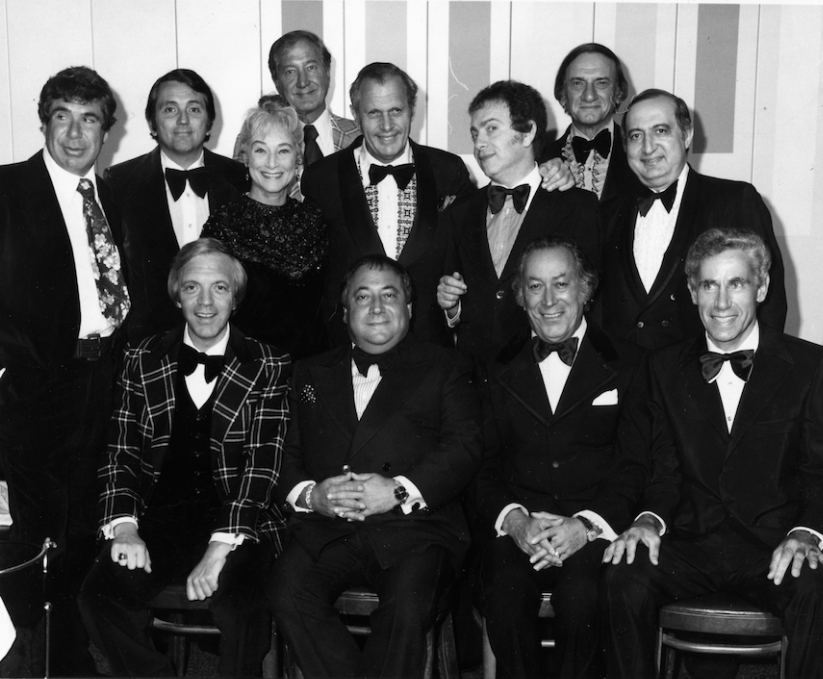 "Click photo to download. Caption: A group of comedians (including Jackie Mason) at the Grossinger's hotel during the heyday of the ""Borscht Belt."" Credit: Jackie Horner."