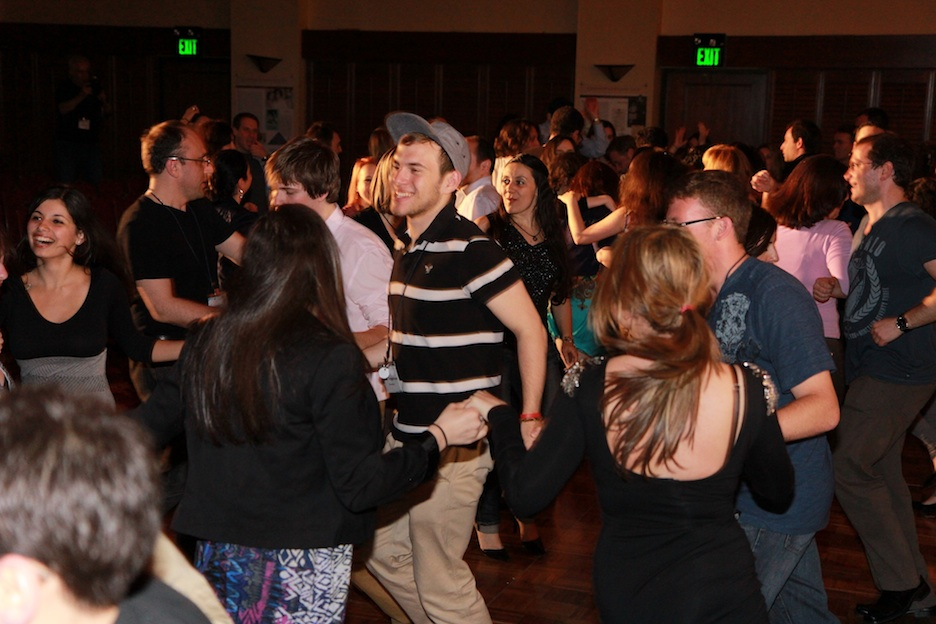 Click photo to download. Caption: Participants at the first Limmud FSU conference in the U.S. dance at the conference's May 12 gala in Princeton, NJ. Credit: Puder PR.